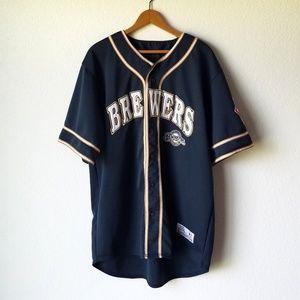 Milwaukee Brewers Blue MLB Button Down Jersey XL